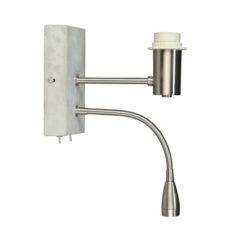 Wandlamp Beton/RVS met led leeslamp - 16x30cm