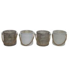 Waxinelichthouder Rond Grijs / Wit - 9cm hoog - Doorsnee 9,5cm