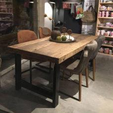 Eettafel gerecycled hout met metalen onderstel 200x95cm