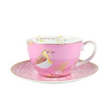 Cappuccino kop en schotel Floral Roze