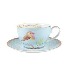 Cappuccino kop en schotel Floral Blauw