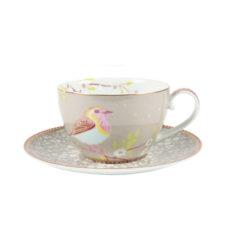 Cappuccino kop en schotel Floral Khaki