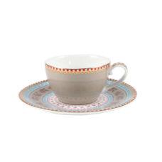 Espresso kop en schotel Floral - Khaki