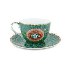 Cappuccino kop en schotel Spring to Life Blauw
