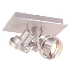 Plafondlamp/Spot LED 2-lichts staal