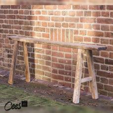 Smalle bank Uniek hout - +/- 115x12x50cm