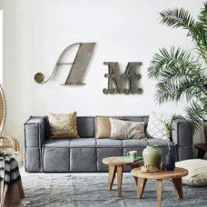 HK Living Sierkussen zwart/wit geruit 50x50cm