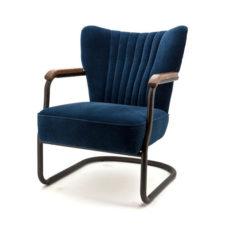 Alice fauteuil met frame - Velours blauw