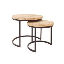 Salontafels set van 2 klein - hout metaal zwart