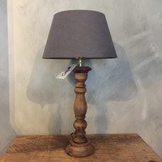 Stoere tafellamp kandelaar teak 12x12x35cm