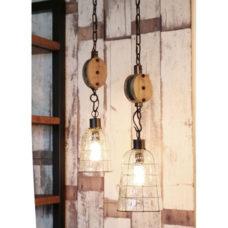Hanglamp Glas metaal en katrol 15cm doorsnee