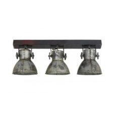 Spot 3-lichts hout bruin + zilver 65x18x25cm