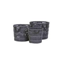 Mand Set/3 max 50x40 cm rotan grijs/zwart