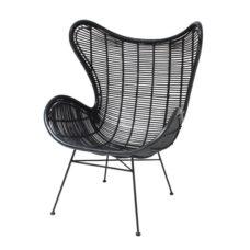 HK Living Rotan egg chair Zwart