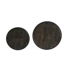 Bijzettafel set van 2 Zwart hout 40x45cm + 50x52cm