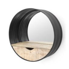 Ronde spiegel met opbergvak - Black