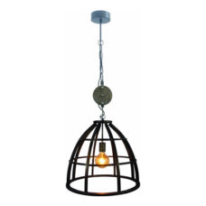 Hanglamp 35cm Zwart/IJzer/Hout