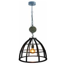 Hanglamp 47cm Zwart/IJzer/Hout