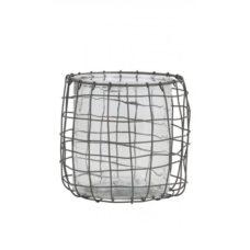 Windlicht draad grijs met glas 17,5x18 cm