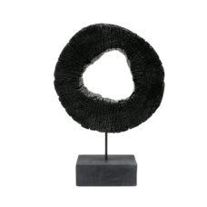 HK Living Houten wiel ornament gebrand Zwart