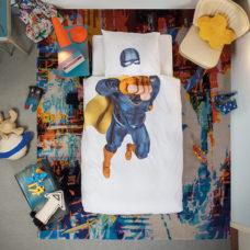 SNURK Superhero Blue dekbedovertrek 140x200/220 cm