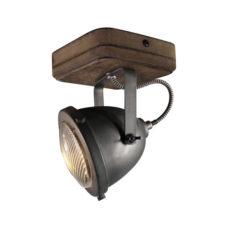 Plafondspot 1L Woody - Zwart/hout