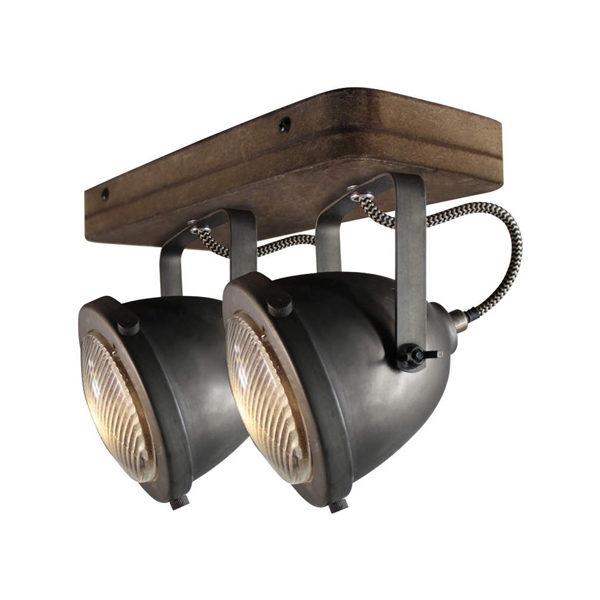 Plafondspot 2L Woody - Zwart/hout