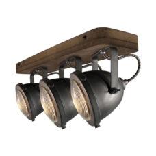 Plafondspot 3L Woody - Zwart/hout
