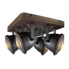 Plafondspot 4L Woody - Zwart/hout