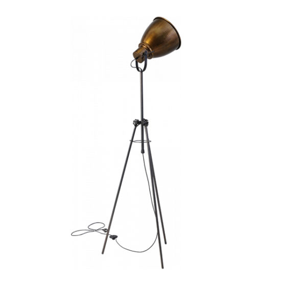Vloerlamp gunmetal Brass Tripod 167cm