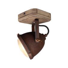 Plafondspot 1L Woody - Roest/hout