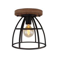 Plafondlamp 25cm - Zwart/ijzer/hout