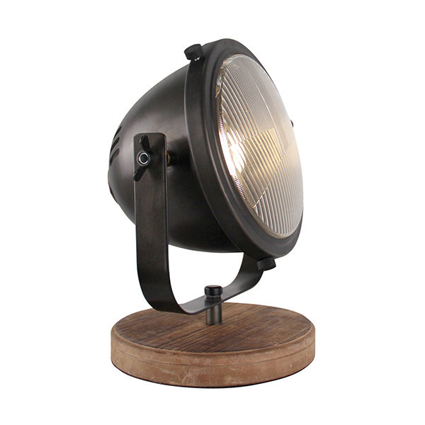 Tafellamp Woody - Zwart/hout