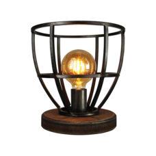 Tafellamp 34cm - Zwart/ijzer/hout