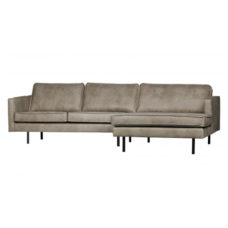 BePureHome Rodeo bank met chaise longue rechts - Elephant Skin