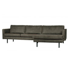 BePureHome Rodeo bank met chaise longue rechts - Army