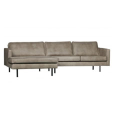 BePureHome Rodeo bank met chaise longue links - Elephant Skin