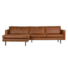 BePureHome Rodeo bank met chaise longue links - Cognac