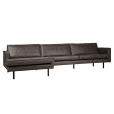 BePureHome Rodeo bank met chaise longue links - Zwart