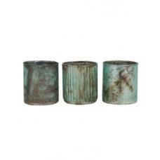 Theelicht set/3 7x8cm LAPAS mat turquoise-koper roest