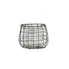 Windlicht draad grijs met glas 12x12x11cm