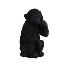 Ornament 16,5x15x30cm MONKEY zwart