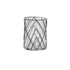 Theelicht 15x15x20cm SUTTON glas zwart