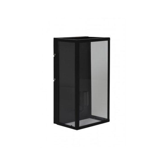 Wandlamp 20x16x40cm CORNELIA mat zwart + helder glas