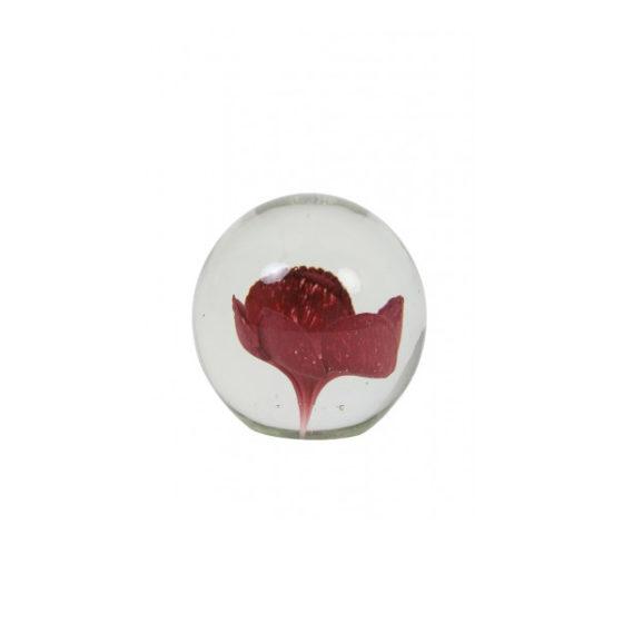 Ornament 8,5x8,5cm FLOWER glas oud roze