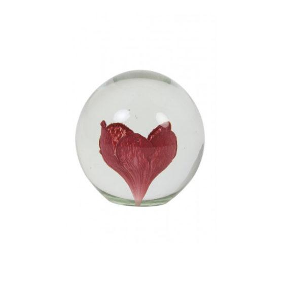 Ornament 10x10cm FLOWER glas oud roze