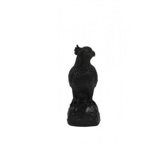 Ornament 8,5x9x20cm PARROT zwart