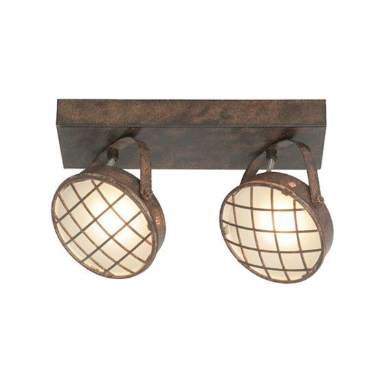 Plafondlamp 2-lichts Balk Lazaro - Roest