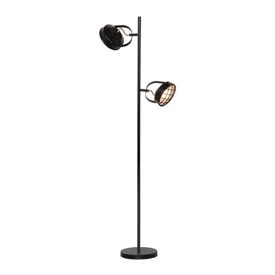 Vloerlamp 2-lichts Lazaro - Zwart