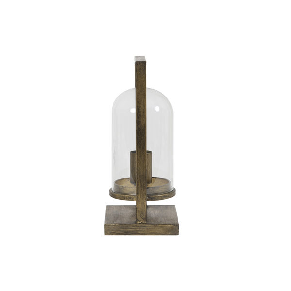 Tafellamp lantaarn brons/goud 17x14x32,5cm